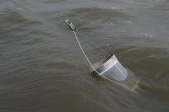 Binnenboord vervoerend een netto plankton Stock Fotografie