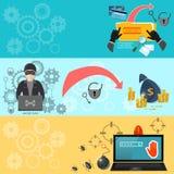 Binnendringende in een beveiligd computersysteem banners Stock Foto's
