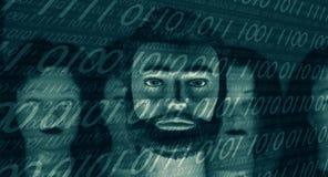Binnendrongen in een beveiligd computersysteem binaire 01 coderen, is de computer niet veilig royalty-vrije stock fotografie