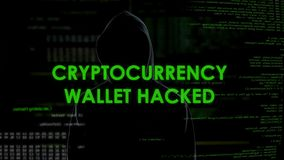 Binnendrongen in een beveiligd computersysteem Cryptocurrency de portefeuille, financiert misdadig stealing geld van rekening stock videobeelden