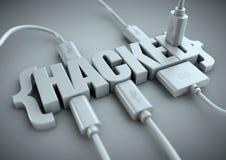 Binnendrongen in een beveiligd computersysteem die titel met gegevenskabels in aan het worden gestopt Royalty-vrije Stock Afbeelding