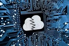 Binnendrongen in een beveiligd computersysteem wolkensysteem royalty-vrije stock afbeelding