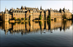 Binnenhof. Reflected government buildings in The Hague, Netherlands Stock Image