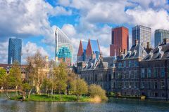 Binnenhof castle Dutch Parliament background with the Hofvijver lake, historical complex, Hague Den Haag, Netherlands. Binnenhof castle Dutch Parliament royalty free stock photography