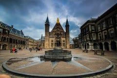 Binnenhof of Den Haag. Binnenhof square of The Hague in cloudy day of spring season Stock Photography