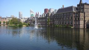 Binnenhof - Dutch Parliament, Holland. Binnenhof - Dutch Parliament with fountain in pond, The Hague at spring with flowers, Holland stock video footage