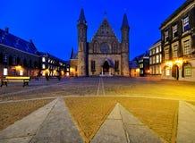 Binnenhof entro Night, L'aia fotografie stock