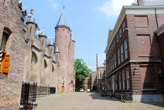 Binnenhof with Gothic Ridderzaal and other buildings for political - The Hague Stock Images