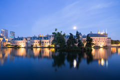 Binnenhof of The Hague At Night in the Netherlands Stock Image