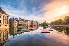 The Hofvijver Pond Court Pond with the Binnenhof complex in The Hague. stock photo