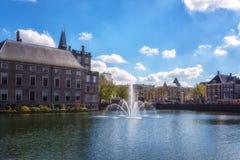 Binnenhof roszuje Holenderskiego parlamentu tło z Hofvijver jeziorem, dziejowy kompleks, Haska melina Haag, holandie fotografia stock