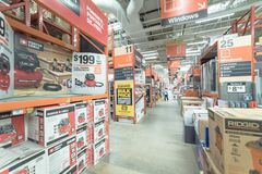 Binnenhome depot-ijzerhandel in Dallas, Texas, Amerika stock fotografie