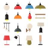 Binnenhuisarchitectuur met moderne lampen en kroonluchters Vectorsymbolen van licht royalty-vrije illustratie