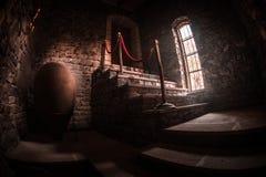 Binnenkant van oud griezelig verlaten herenhuis Trap en colonnade Donkere kasteeltreden aan de kelderverdieping De griezelige tre stock fotografie