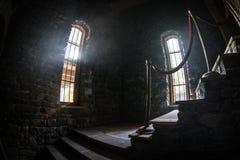 Binnenkant van oud griezelig verlaten herenhuis Trap en colonnade Donkere kasteeltreden aan de kelderverdieping De griezelige tre royalty-vrije stock foto's