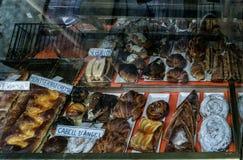Binnenla Boqueria van de Marktzaal op La Rambla stock fotografie