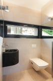 Binnenland, badkamersmening, toilet Royalty-vrije Stock Afbeeldingen