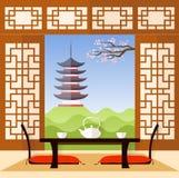 Binnenland in de Japanse stijl Vector Stock Foto's