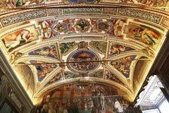 Binnenland en details van het museum van Vatikaan, de stad van Vatikaan Stock Fotografie
