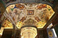 Binnenland en details van het museum van Vatikaan, de stad van Vatikaan Stock Foto's