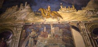 Binnenland en details van Palazzo Pubblico, Siena, Italië Stock Fotografie