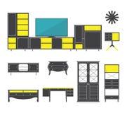 Binnenland en meubilairpictogrammen in vlak ontwerp worden geplaatst dat Vector Royalty-vrije Stock Foto's