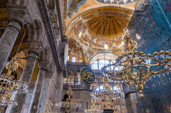 Binnenland het van Hagia Sophia (ook genoemd Hagia Sofia of Ayasofya) Stock Foto