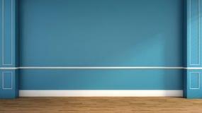 Binnenland in klassieke stijl Blauw 3D Illustratie Royalty-vrije Stock Foto's
