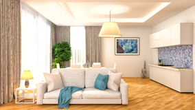 Binnenland met bank 3D Illustratie Stock Fotografie