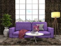 Binnenland met bank 3D Illustratie Stock Foto