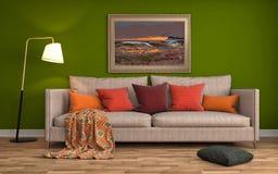 Binnenland met bank 3D Illustratie Stock Foto's