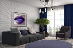 Binnenland met bank 3D Illustratie Royalty-vrije Stock Afbeelding