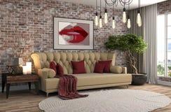 Binnenland met bank 3D Illustratie Royalty-vrije Stock Foto's