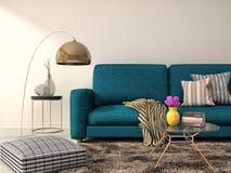 Binnenland met blauwe bank 3D Illustratie Stock Foto