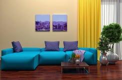 Binnenland met blauwe bank 3D Illustratie Stock Foto's
