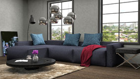 Binnenland met blauwe bank 3D Illustratie Stock Fotografie