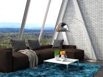 Binnenland met bruine bank 3D Illustratie Stock Foto