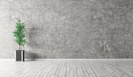 Binnenland met concrete muur en het houten vloer 3d teruggeven stock illustratie
