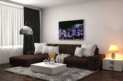 Binnenland met grijze bank 3D Illustratie Royalty-vrije Stock Afbeeldingen