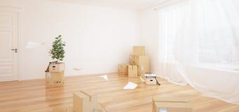 Binnenland met het bewegen van dozen in lege witte ruimte royalty-vrije illustratie
