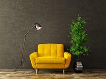 Binnenland met het gele leunstoel 3d teruggeven royalty-vrije stock afbeeldingen
