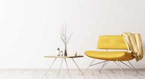 Binnenland met het gele leunstoel en koffietafel 3d teruggeven vector illustratie