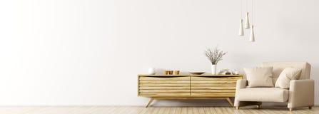 Binnenland met het houten kabinet en leunstoel 3d teruggeven stock illustratie