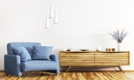 Binnenland met het houten kabinet en leunstoel 3d teruggeven vector illustratie