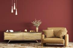 Binnenland met het houten opmaker en leunstoel 3d teruggeven stock illustratie