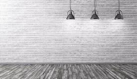 Binnenland met lampen over steenmuur het 3d teruggeven royalty-vrije illustratie