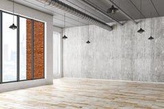 Binnenland met lege concrete muur Stock Afbeeldingen