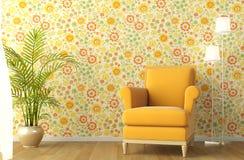 Binnenland met leunstoel en bloemrijk behang Stock Fotografie