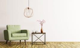 Binnenland met leunstoel en koffietafel het 3d teruggeven stock illustratie