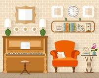 Binnenland met meubilair en piano in vlakke stijl Royalty-vrije Stock Afbeelding